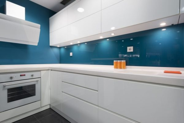 Metalic Blue glass splashback