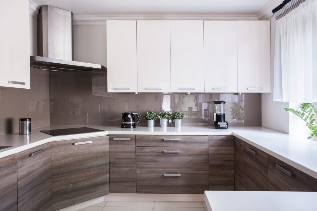 Taupe glass splashback