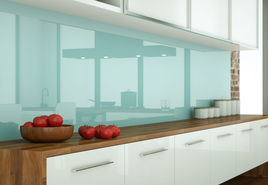 mint coloured glass splashback